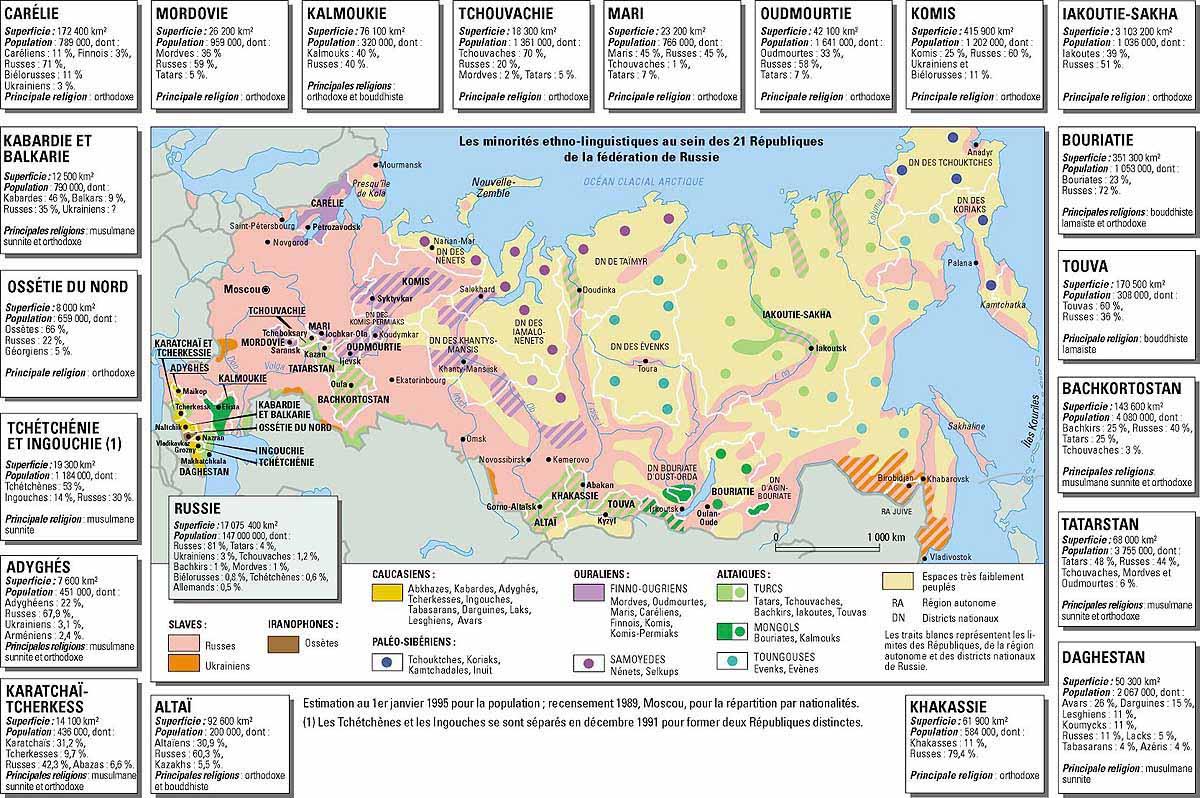 Carte de la russie avec les 21 républiques et les différentes