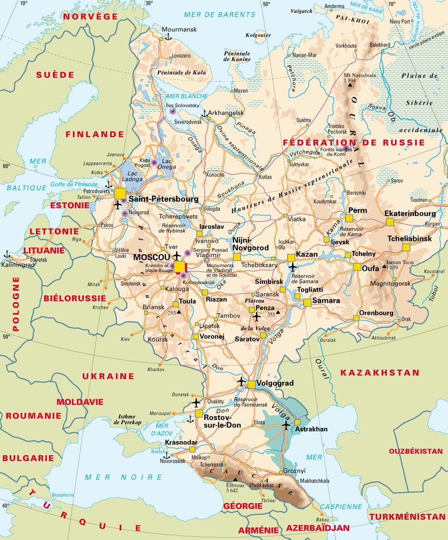 Carte de la russie avec les villes, les fleuves, les aéroports et les
