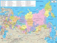 Carte de la Russie avec les villes et les aéroports en russe.