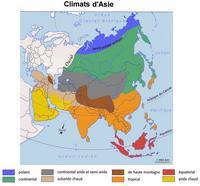 Carte des climats de l'Asie et de la Russie