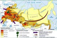 Carte de la densité de population en Russie et des flux migratoires.