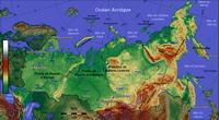Carte de la Russie l'altitude en mètre et l'échelle en km.