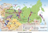 Carte de la Russie et des réserves d'énergies en gaz et en pétrole