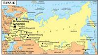 Carte de la Russie avec les villes