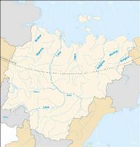 Carte simple de la Russie avec les fleuves.