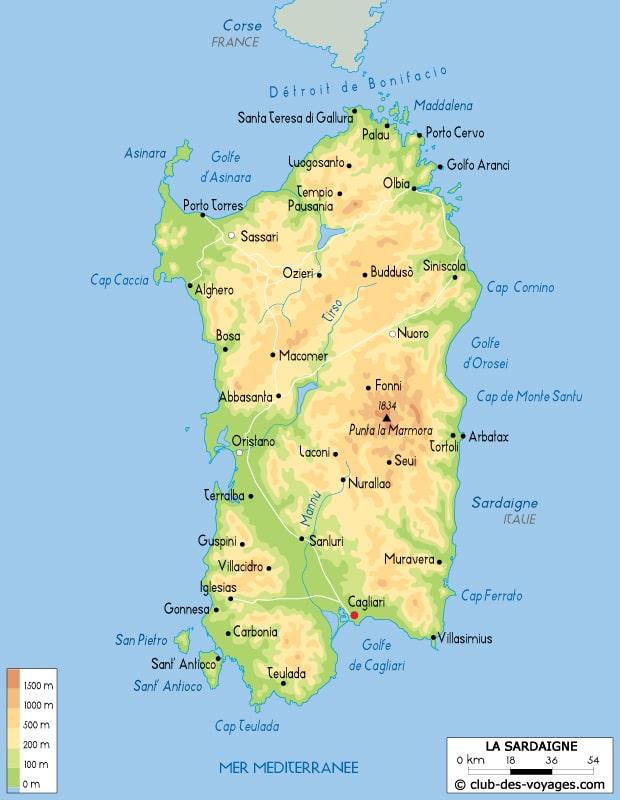 Carte Italie Et Sardaigne.Carte De La Sardaigne A Imprimer Sicilfly