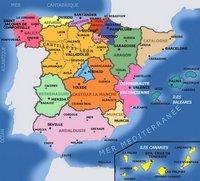 Carte des régions de l'Espagne