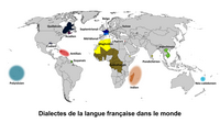 Carte du monde avec les dialectes de la langue française