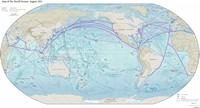 Carte du monde maritime avec les routes commerciales