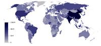 Carte du monde avec la densité de population