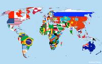 Carte monde avec les drapeaux