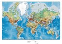 Carte monde avec le relief en anglais