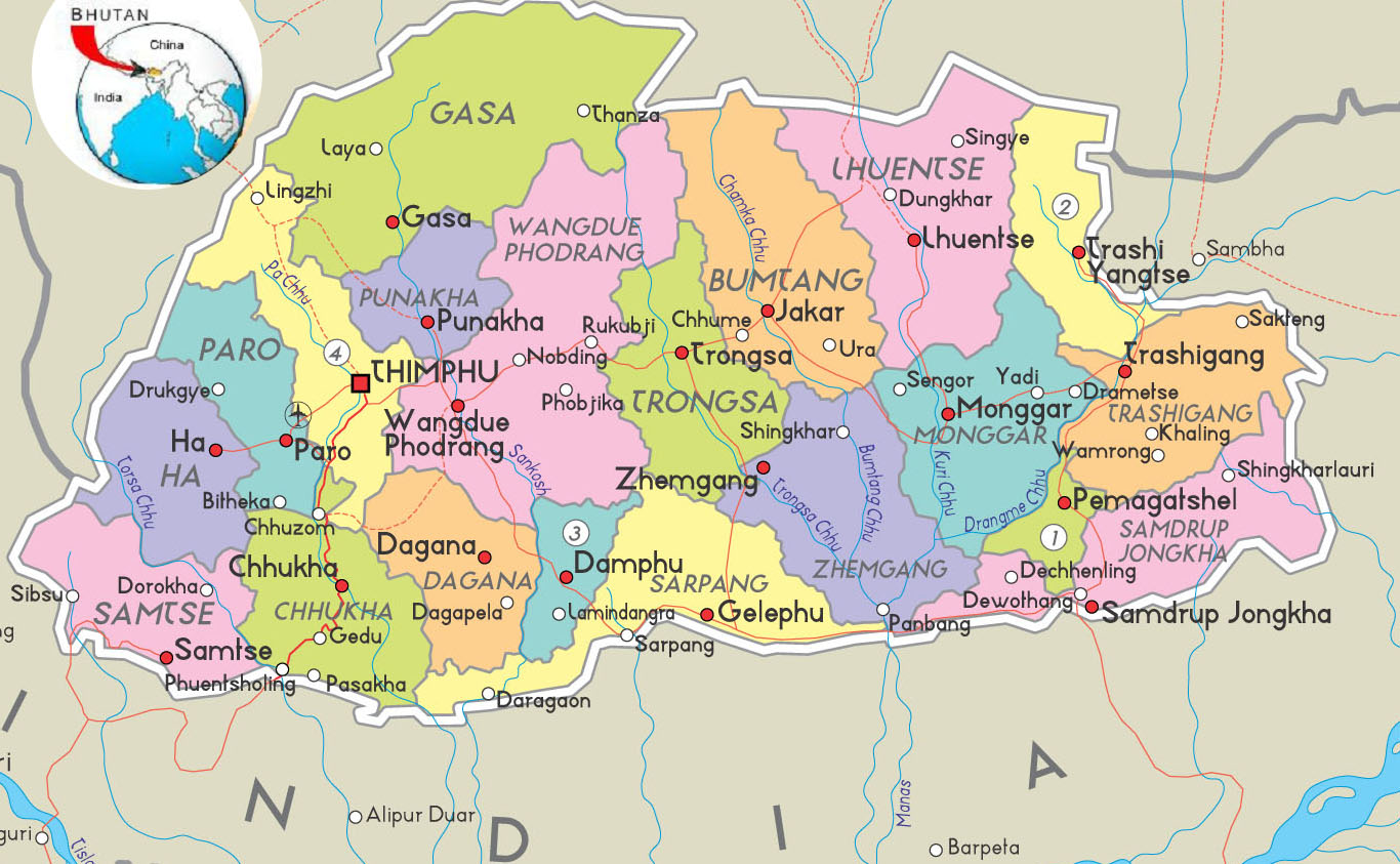 Bhoutan carte