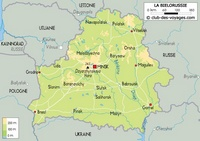 Carte de la Biélorussie carte relief altitude capitale Minsk ville et route