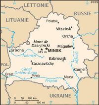 Carte de la Biélorussie capitale Minsk point culminant mont Dzerjinski riviere