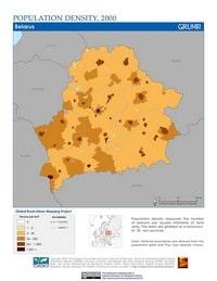 Carte de la Biélorussie avec la densité de population