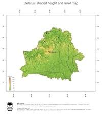 Carte de la Biélorussie avec le relief l'altitude et les lacs
