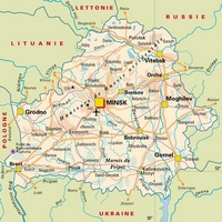 Carte de la Biélorussie carte routière avec les villes, les routes, le relief et les villages