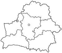 Carte de la Biélorussie vierge avec les divisions administratives