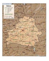 Carte de la Biélorussie avec les villes, la capitale, les routes, les chemins de fer et l'échelle en km et en miles