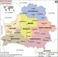 Carte de la Biélorussie avec les villes, les régions et les chefs-lieux