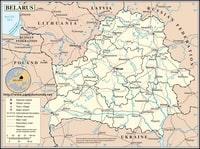 Carte de la Biélorussie avec les villes, les villages, les routes principales et secondaires, les aéroports et les chemins de fer