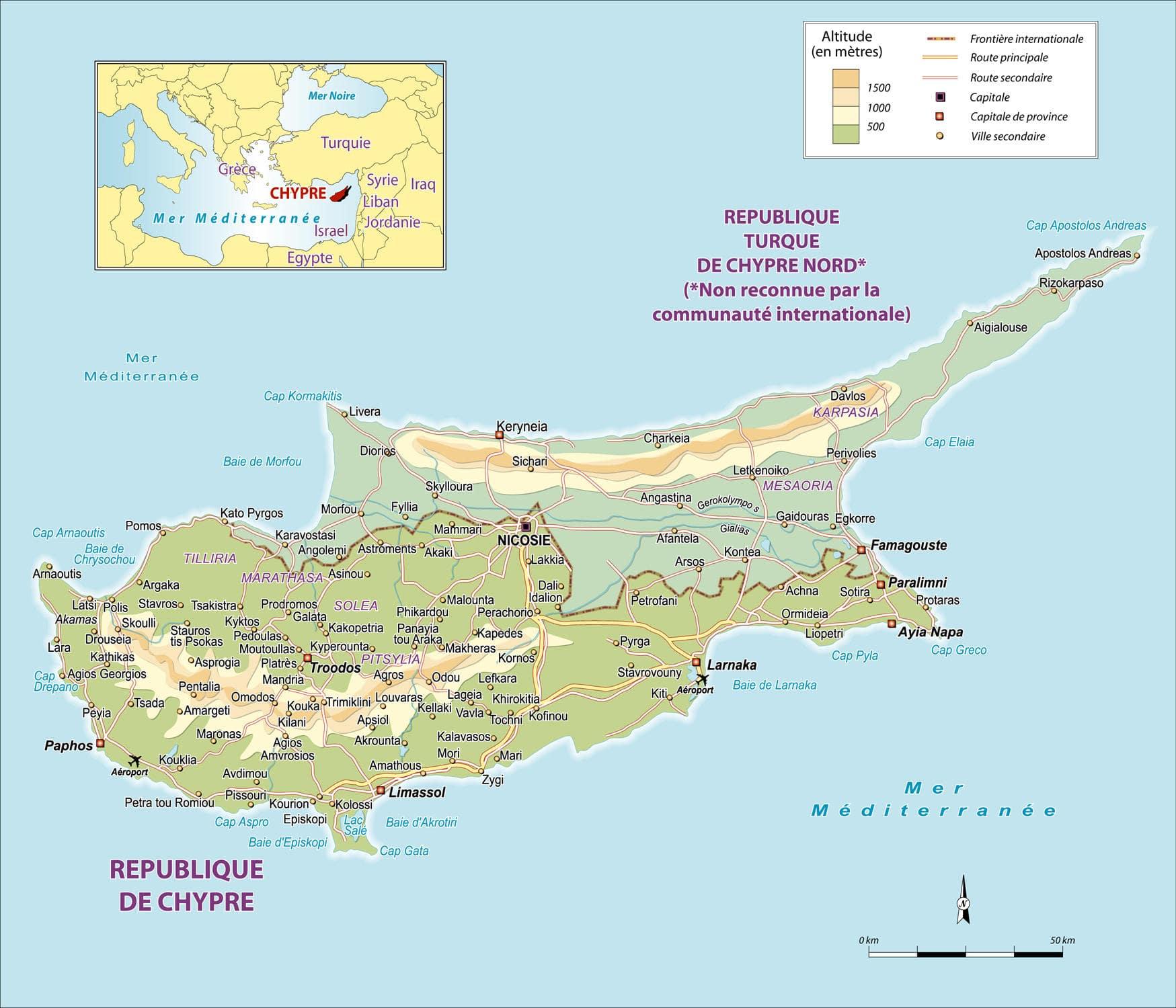 Chypre Carte Touristique.Cartograf Fr Les Pays Chypre
