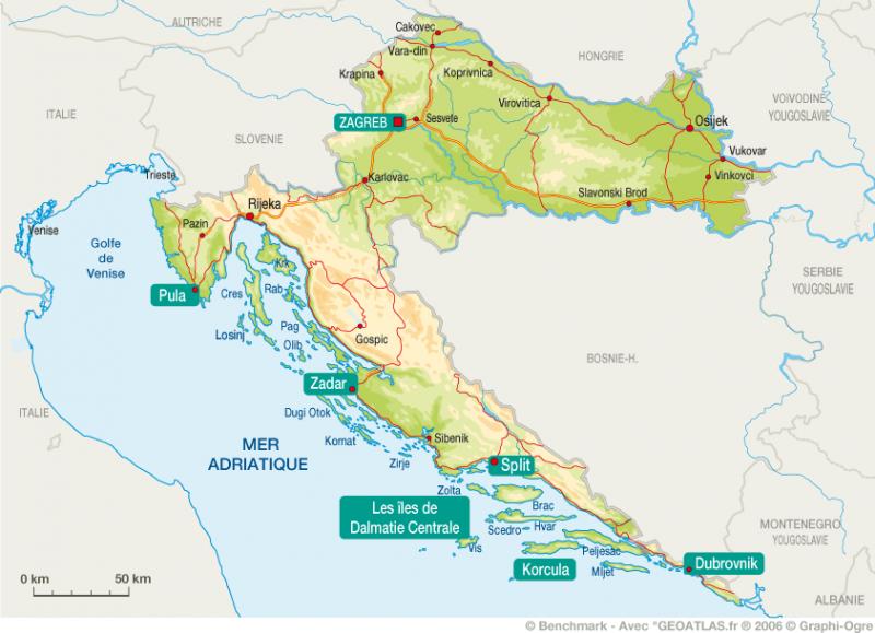 Carte Topographique Croatie | tonaartsenfotografie
