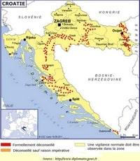 Carte de la Croatie avec les mines antipersonnels