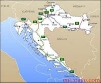 Carte de la Croatie avec le nom des autoroutes