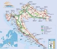 Carte routière de la Croatie avec le type de route et la distance avec les villes étrangères