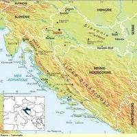 Carte de la Croatie avec les sommets et les points culminants