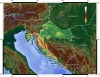 Carte de la Croatie avec la topographie, le relief et l'altitude en mètre