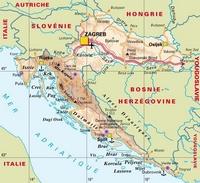 Carte de la Croatie avec les villes, la capitale, l'aéroport principal, les ports et les routes