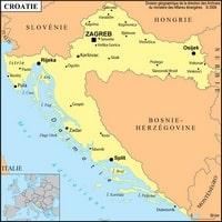 Carte de la Croatie avec les villes, la capitale et la localisation en Europe