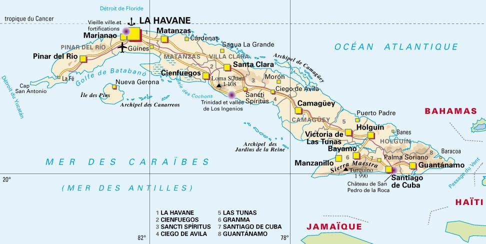 Carte De Cuba Avec Les Villes.Cartograf Fr Les Pays Cuba