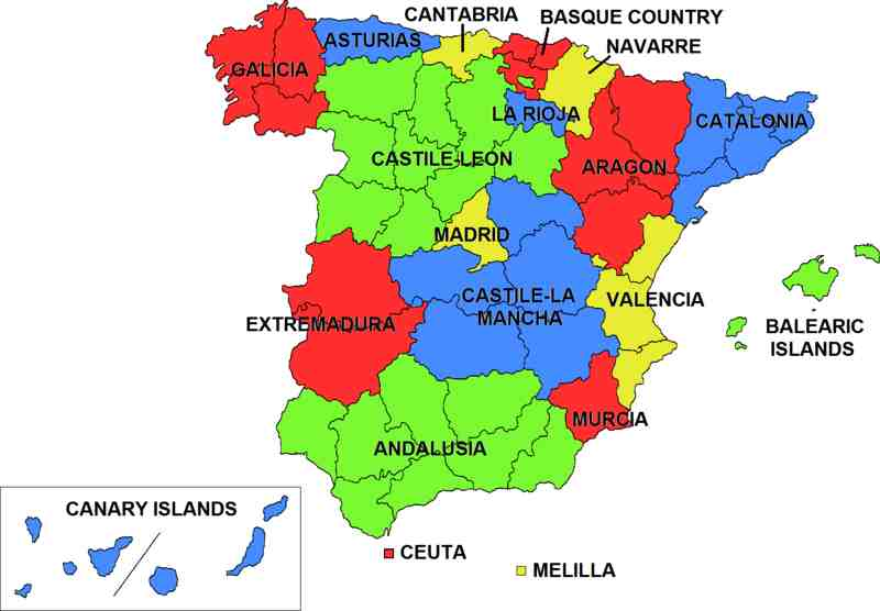 carte espagne province
