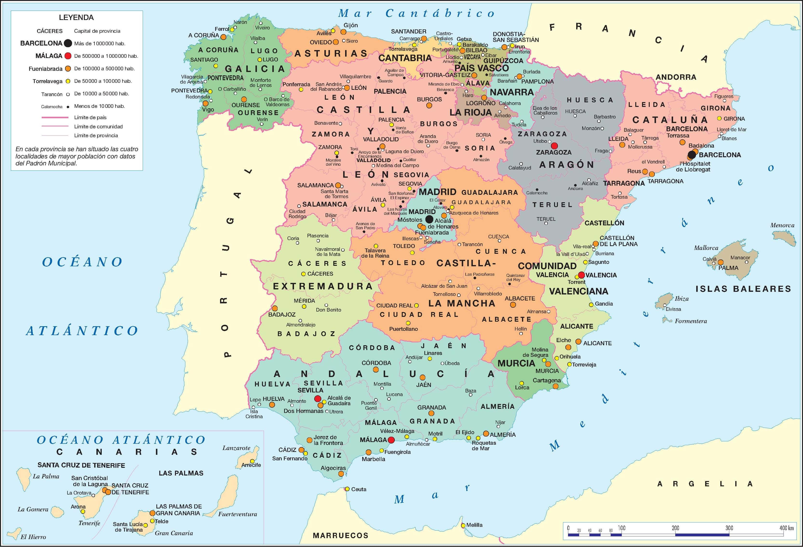 carte espagne par region