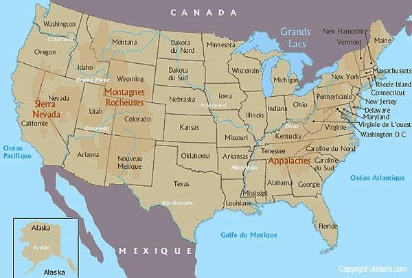 Cartograffr Les Etats Unis Les Montagnes Et Les Fleuves