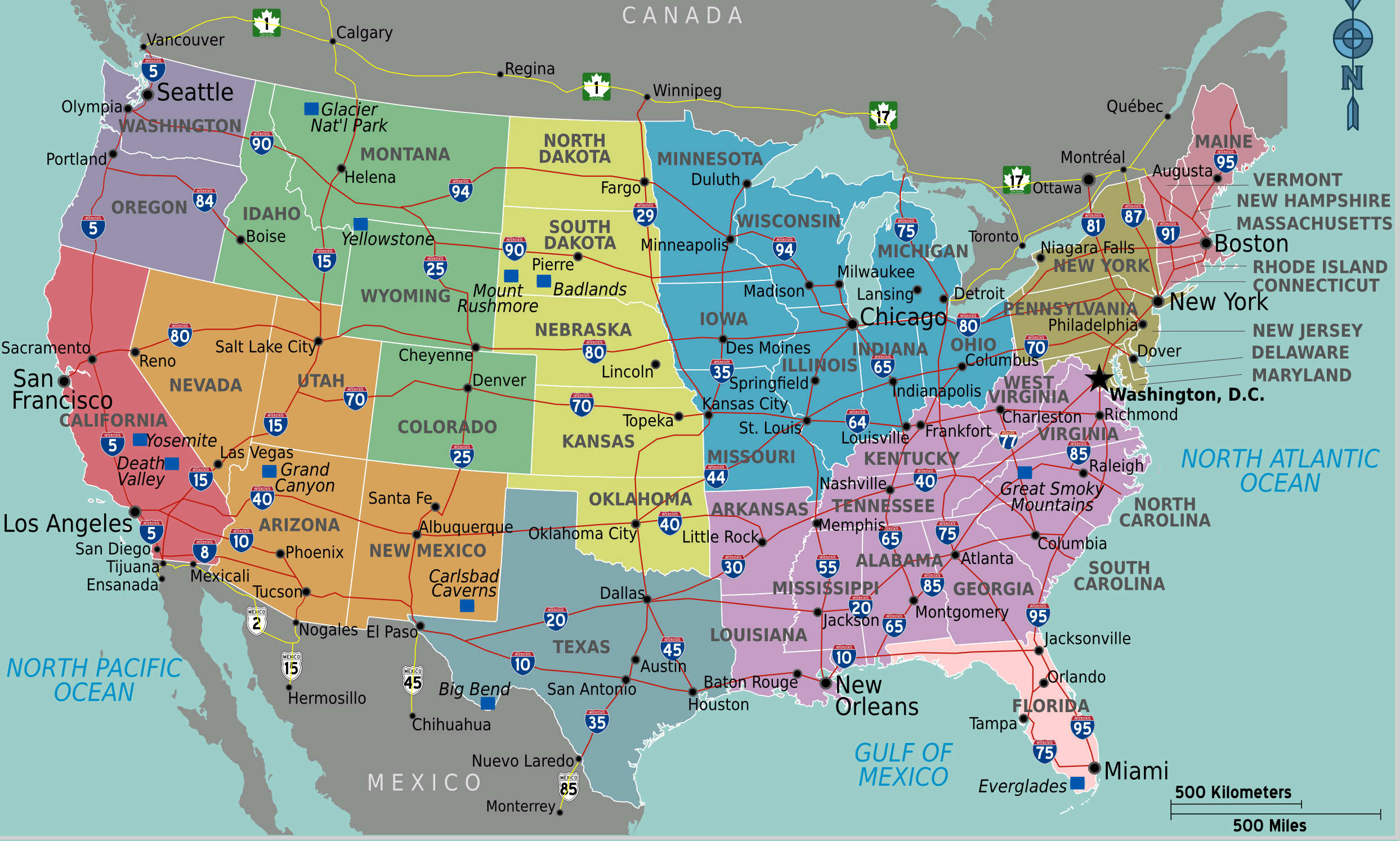 usa-carte-des-villes - Photo