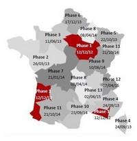 Carte de France pour l'installation des nouvelles chaines de la TNT selon les phases