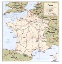 Carte routière de la France avec les routes, les autoroutes et les chemins de fer