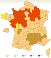 Carte de la tradition du nombre de bises en France