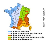 Carte du climat par département
