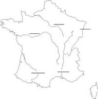 Carte de France vierge avec les fleuves à compléter