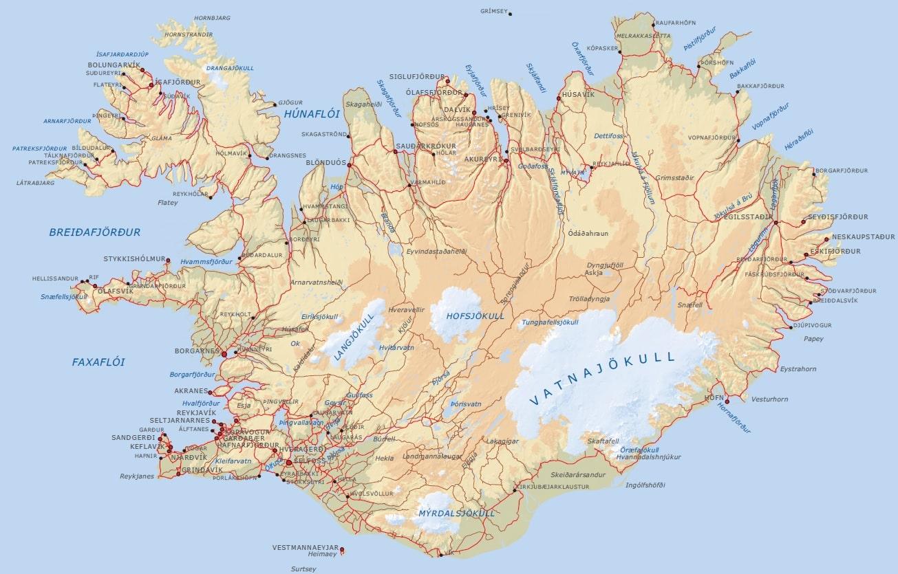 Islande Carte Hd