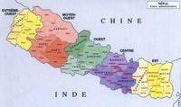 Carte du Népal administrative avec les régions ( anchal ) et les districts
