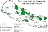 Carte Népal avec les parcs naturels, les réserves et les sites classés patrimoine mondial