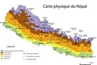 Carte du Népal physique avec l'altitude en mètre, les sommets, les cours d'eau et les villes