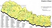 Carte du Népal avec les régions et les districts